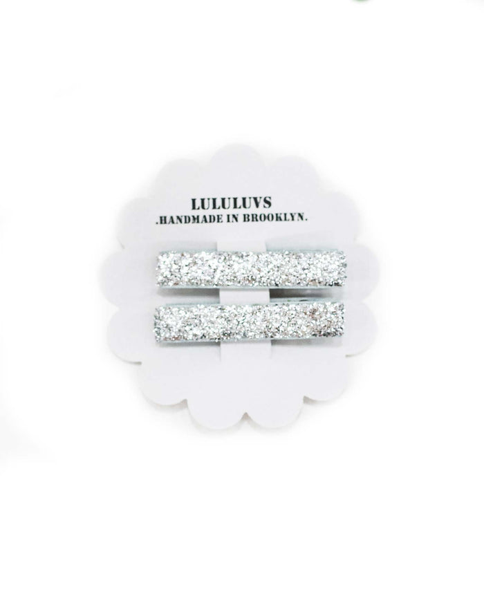 Little lululuvs accessories glitter bar clips in silver