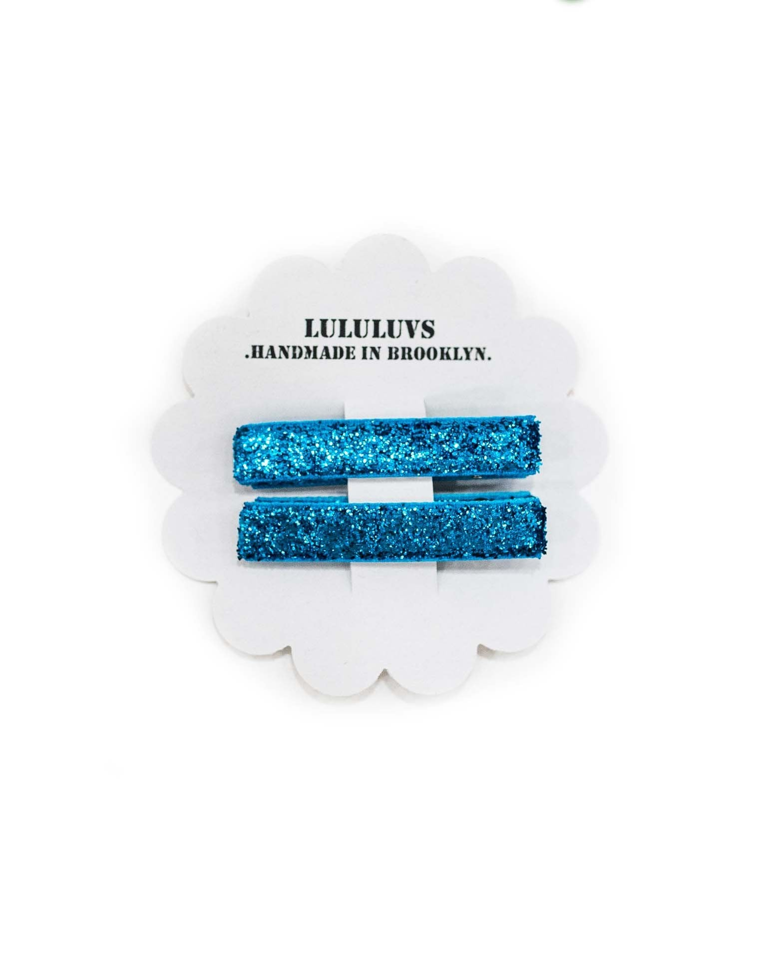Little lululuvs accessories glitter bar clips in turquoise