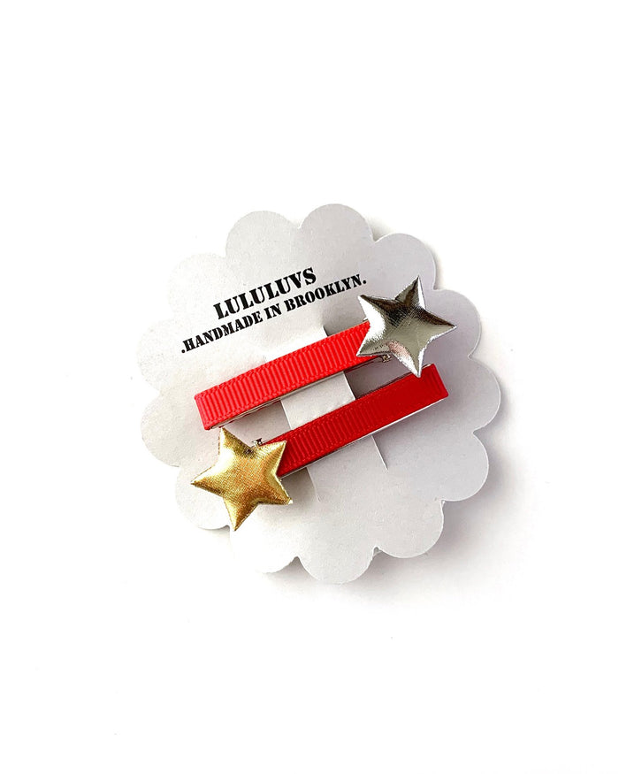 Little lululuvs accessories star clips in red