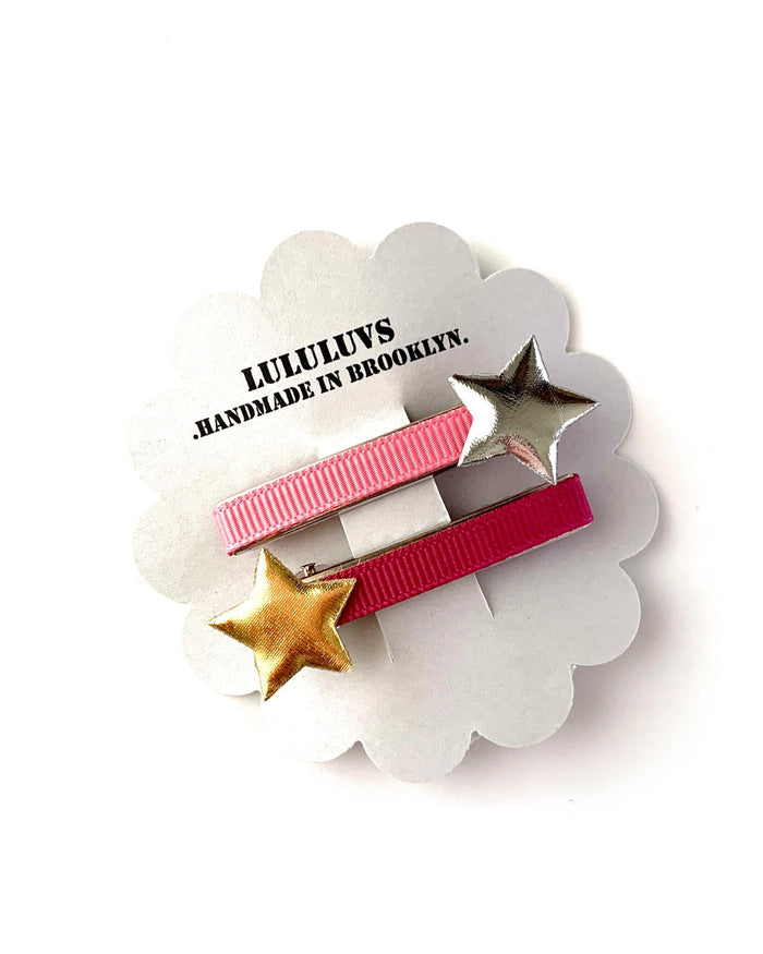 Little lululuvs accessories star clips in rose pink