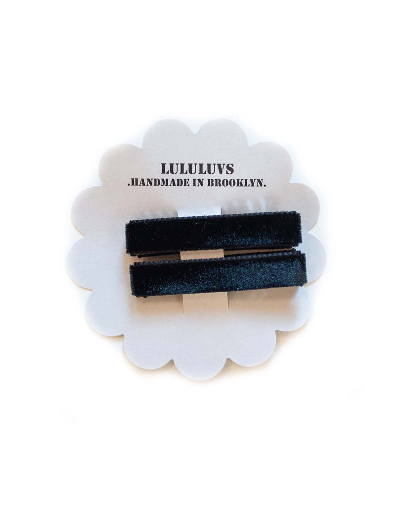 Little lululuvs accessories velvet bar clips in black