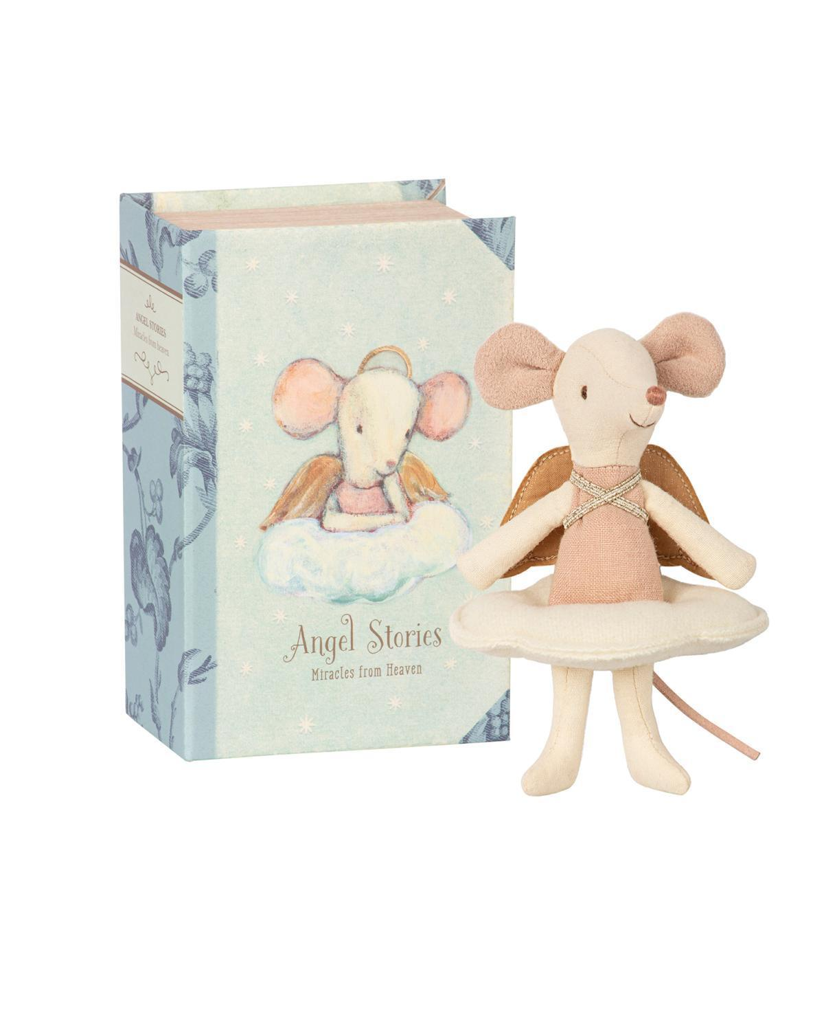 Little maileg play angel mouse in book