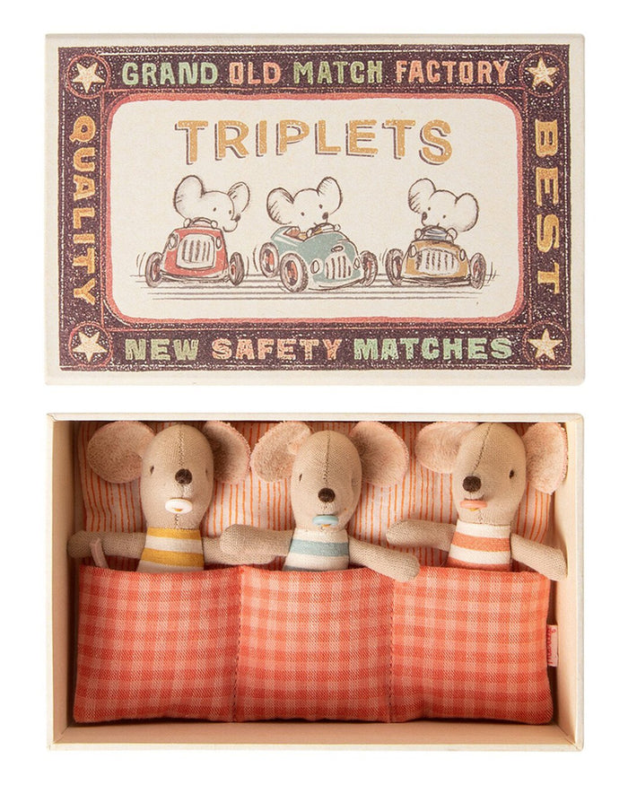 Little maileg play baby mice triplets in matchbox