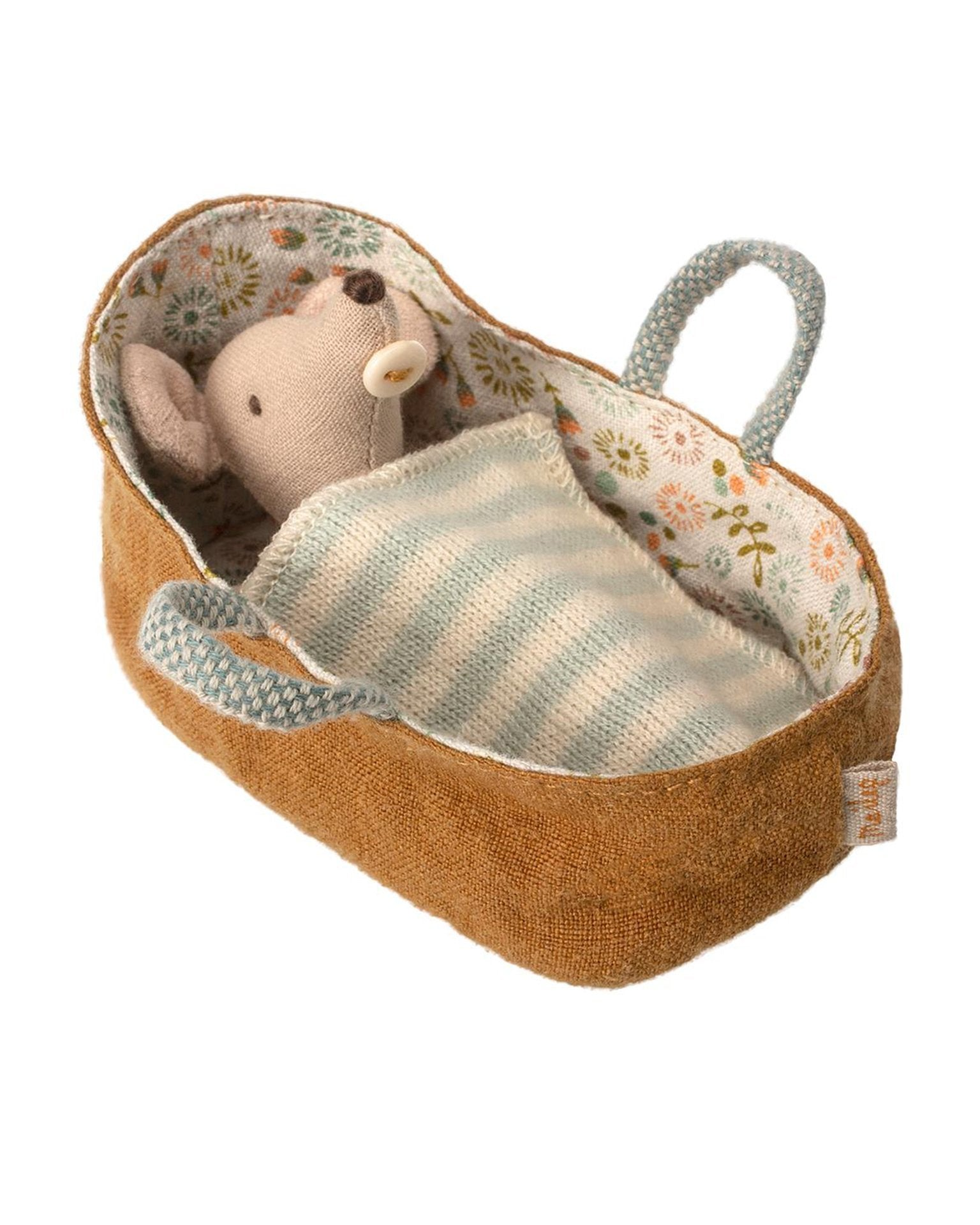 Little maileg play baby mouse in carrycot