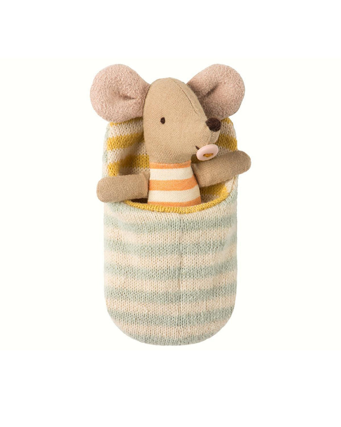 Little maileg play baby mouse in sleeping bag