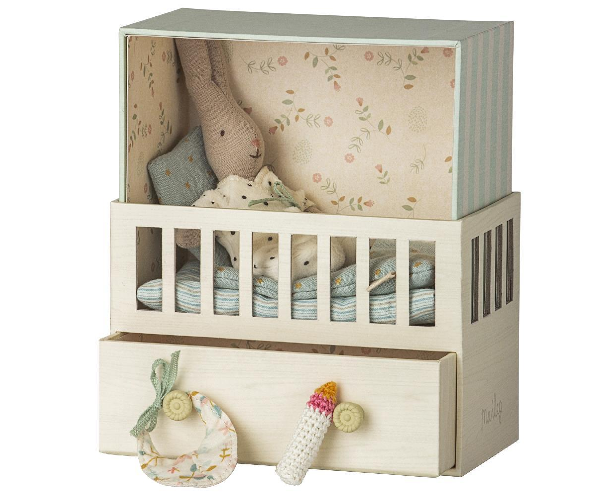 Little maileg play baby room with micro rabbit