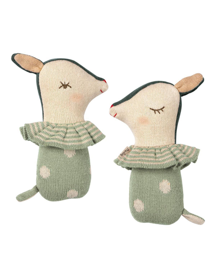 Little maileg baby accessories bambi rattle in dusty mint