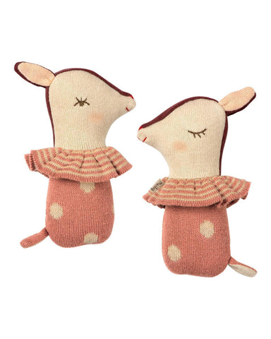 Little maileg baby accessories bambi rattle in rose