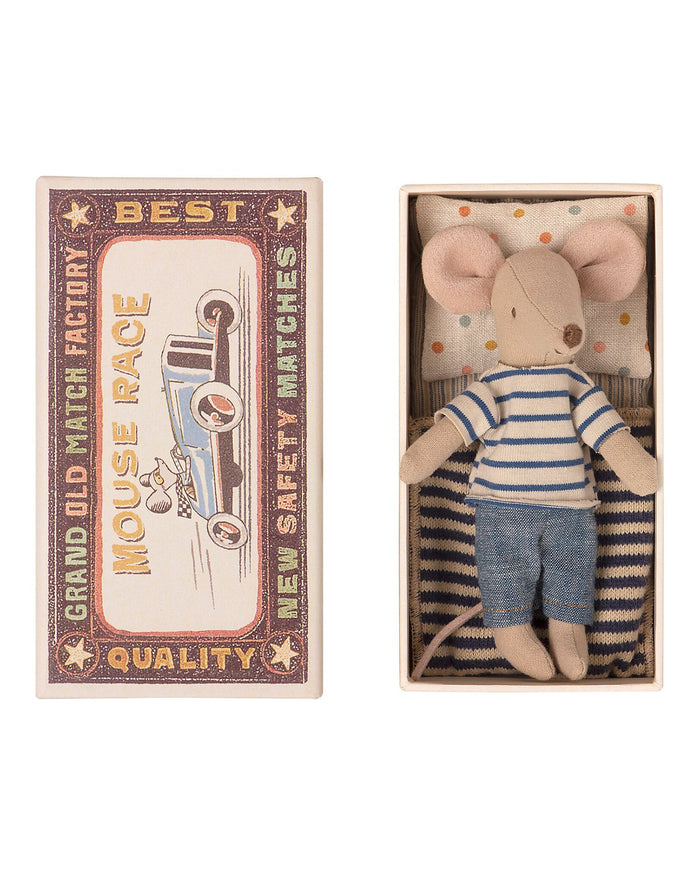 Little maileg play big brother mouse in matchbox
