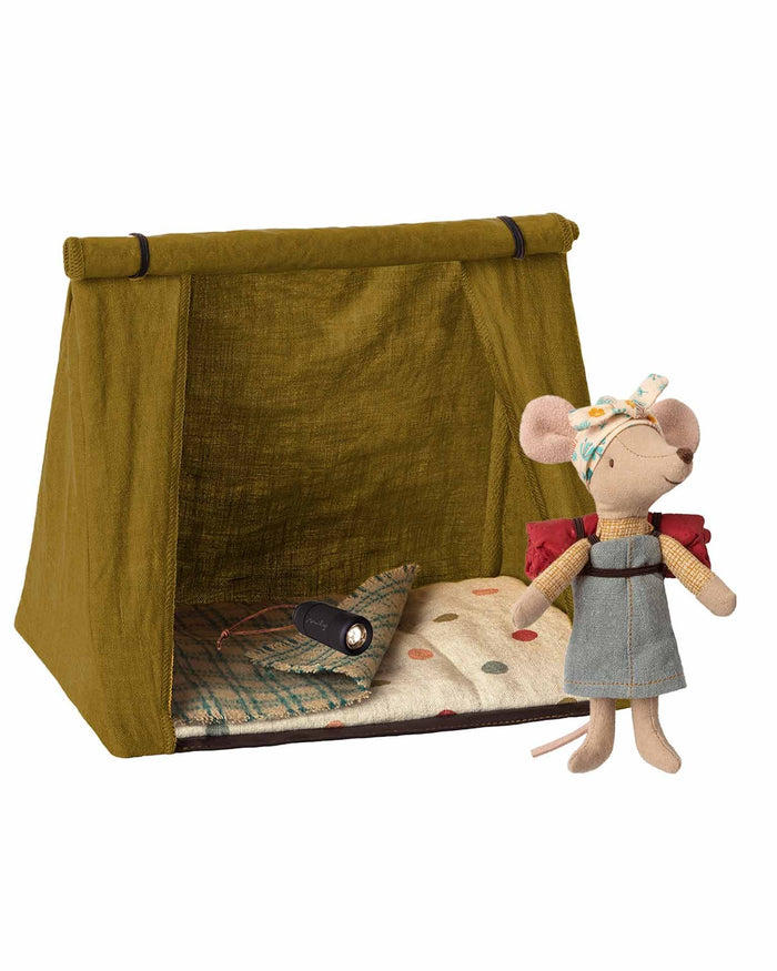 Little maileg play big sister hiking mouse with tent + flashlight