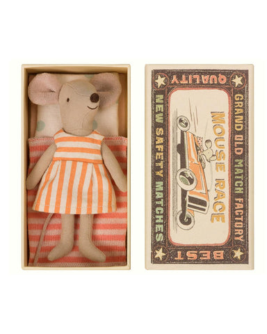 Little maileg play big sister mouse in a box in orange stripes