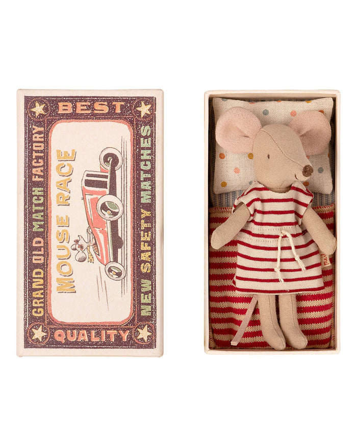Little maileg play big sister mouse striped dress in matchbox
