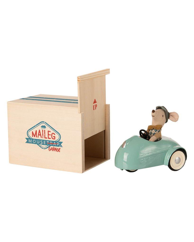 Little maileg play blue mouse car with garage
