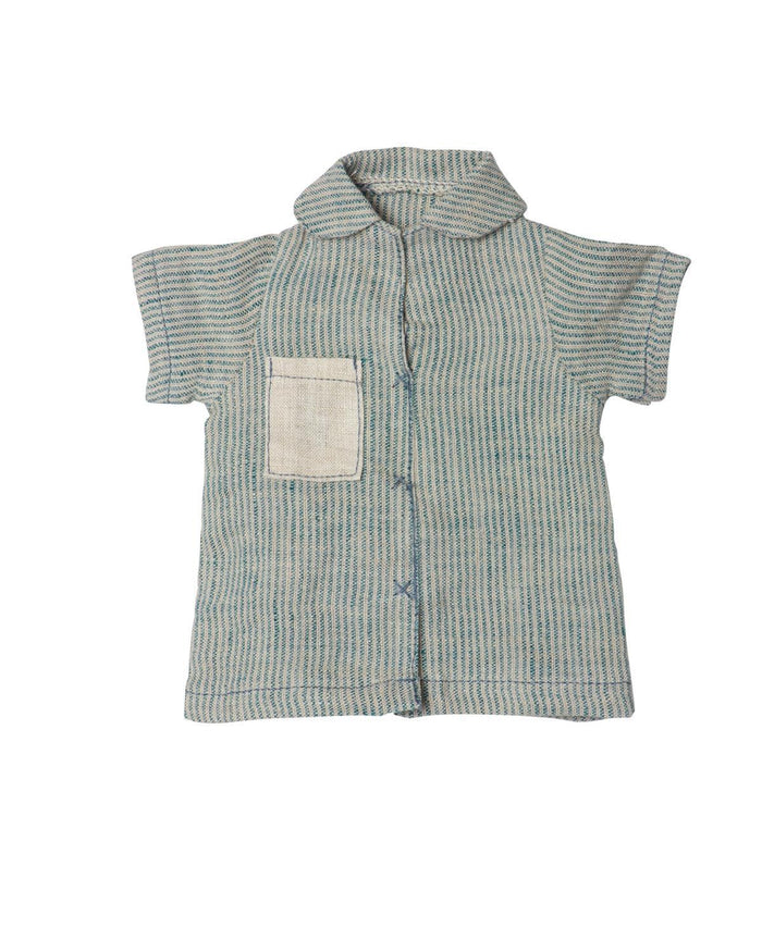 Little maileg play Blue Striped Linen Shirt, Medium