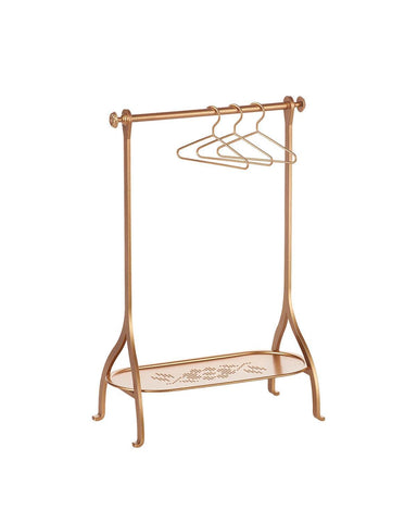 Little maileg play clothes rack + hangers in gold