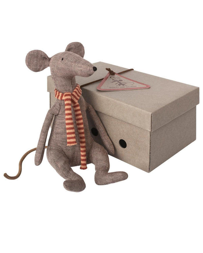 Little maileg play cool rat with red scarf