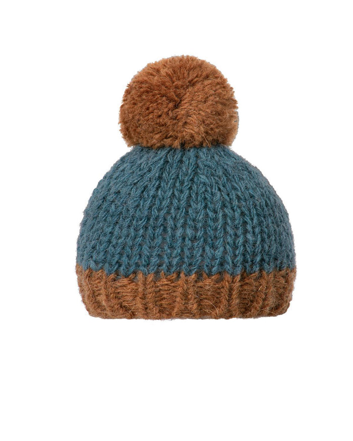 Little maileg play hand knitted hat in petrol + brown