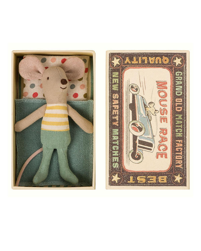 Little maileg play little brother mouse in box in yellow stripes