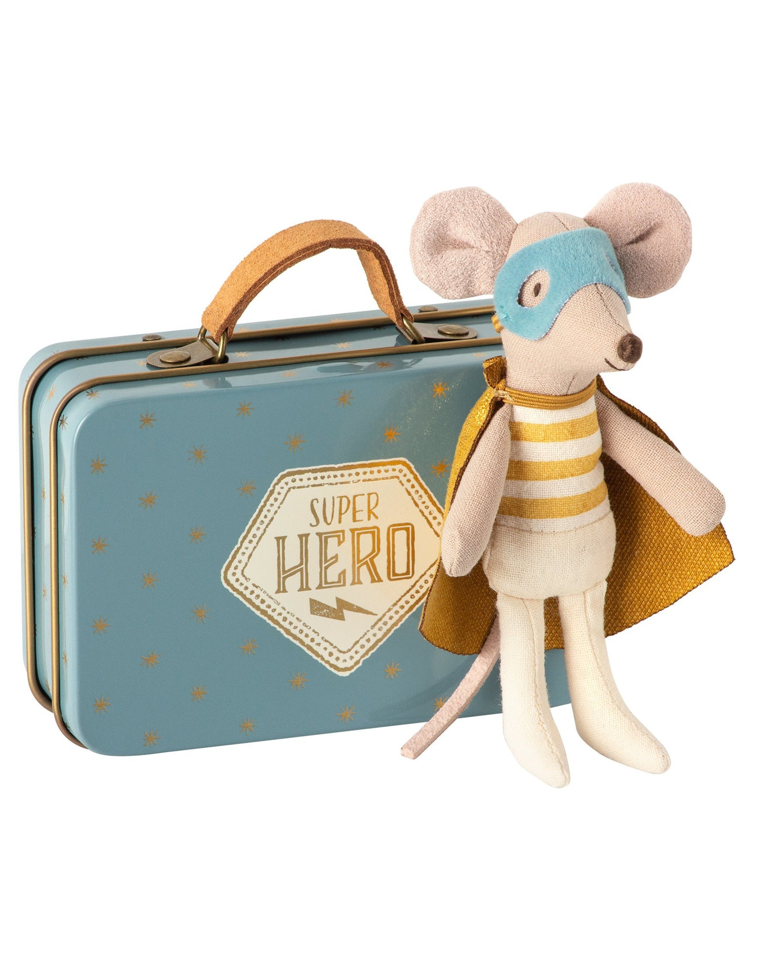 Little maileg play little brother superhero mouse in suitcase