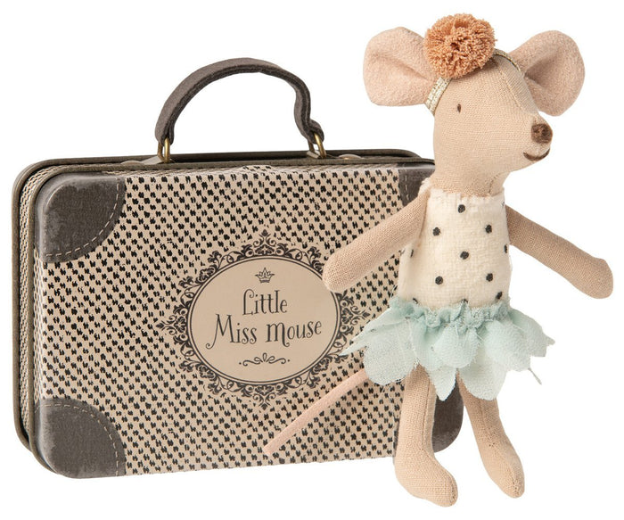 Little maileg play little miss mouse in suitcase
