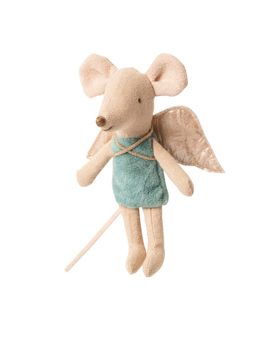 Little maileg play little sister fairy mouse in blue