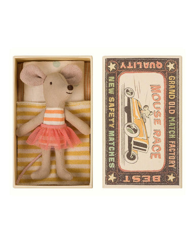 Little maileg play little sister mouse in box in tutu + orange stripes