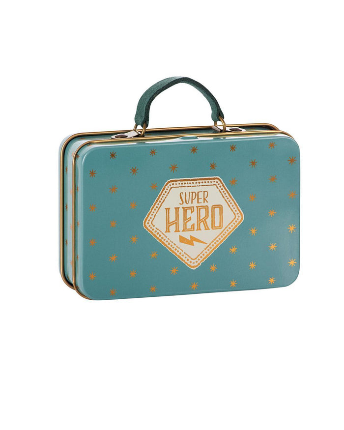 Little maileg play metal suitcase in blue + gold stars