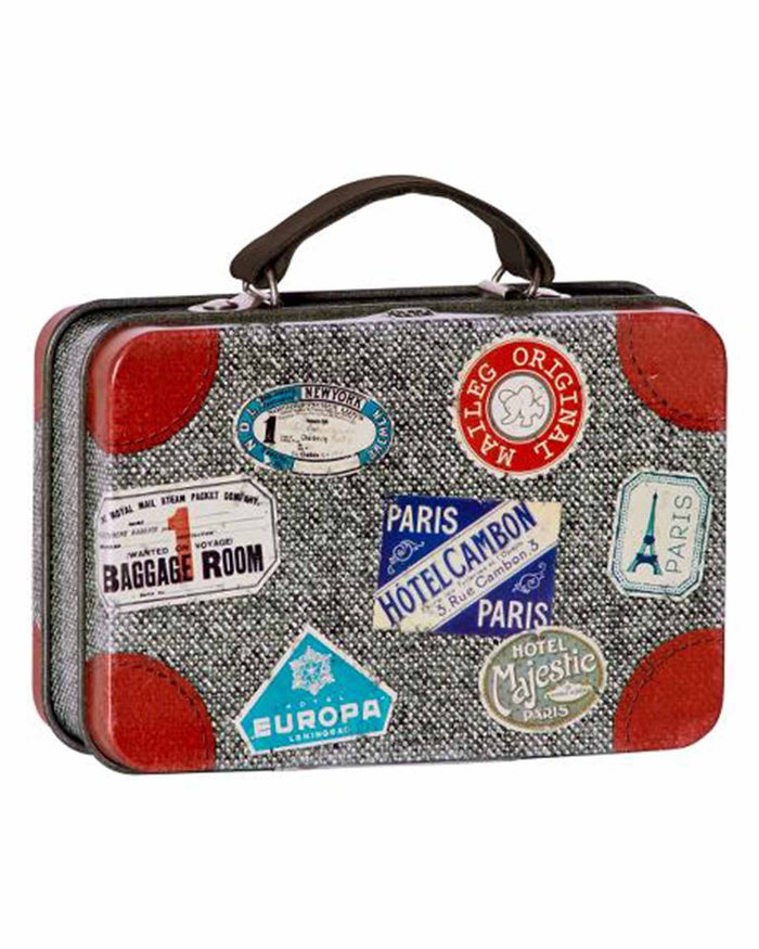 Little maileg play metal suitcase in grey