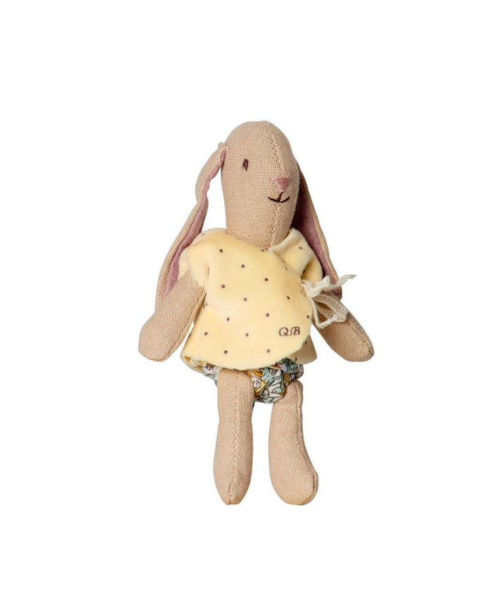 Little maileg play Micro Bunny in Yellow Cardigan