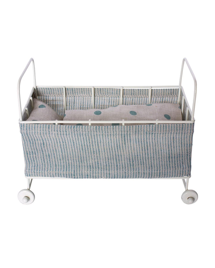 Little maileg play micro metal baby cot