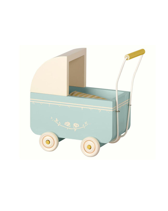 Little maileg play micro pram in blue