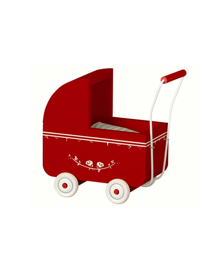 Little maileg play micro pram in red