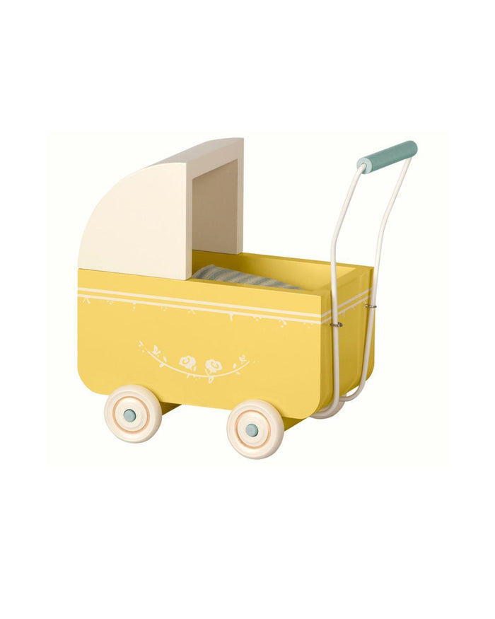 Little maileg play micro pram in yellow