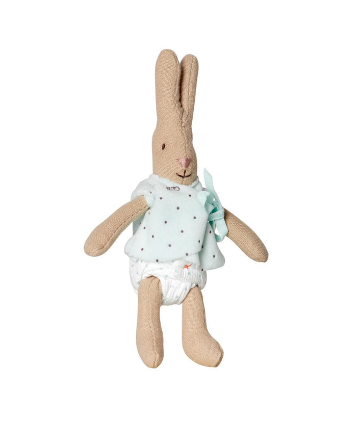 Little maileg play Micro Rabbit + Blue Cardigan