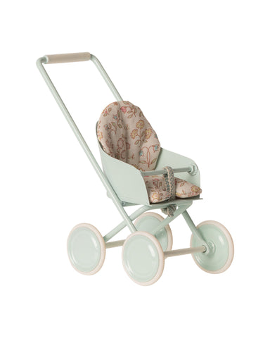 Little maileg play micro stroller in sky blue