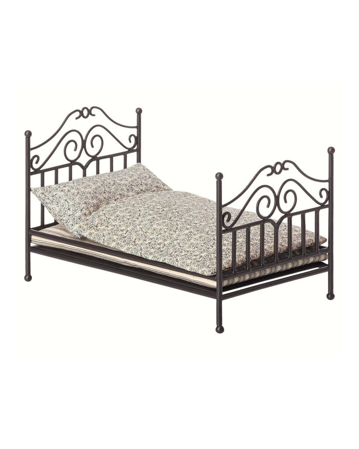 Little maileg play micro vintage bed in anthracite