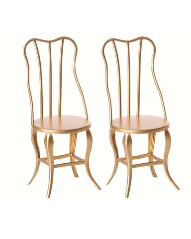 Little maileg play micro vintage chairs in gold