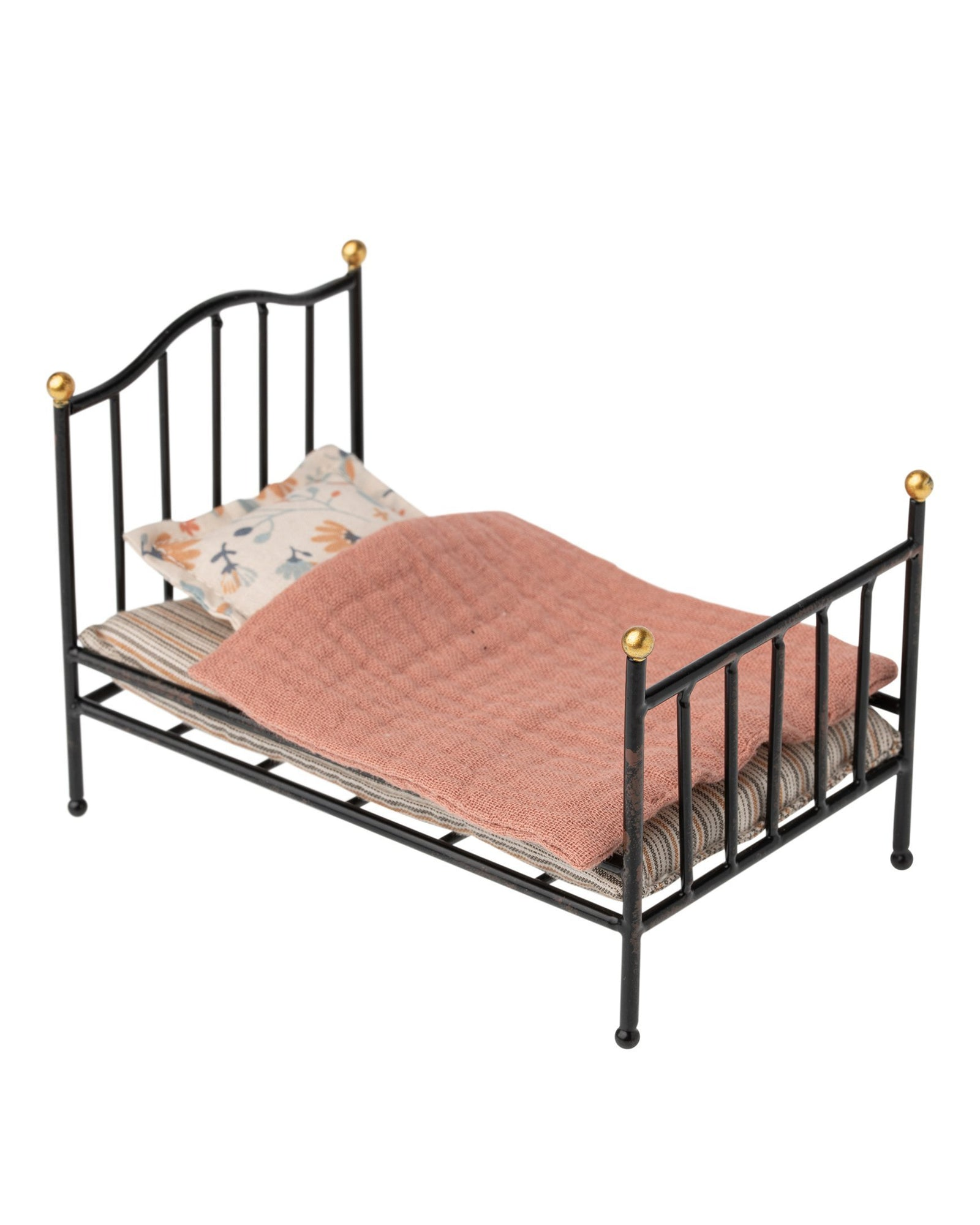 Little maileg play mouse vintage bed in anthracite