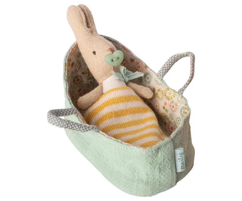 Little maileg play my rabbit in mint carry cot