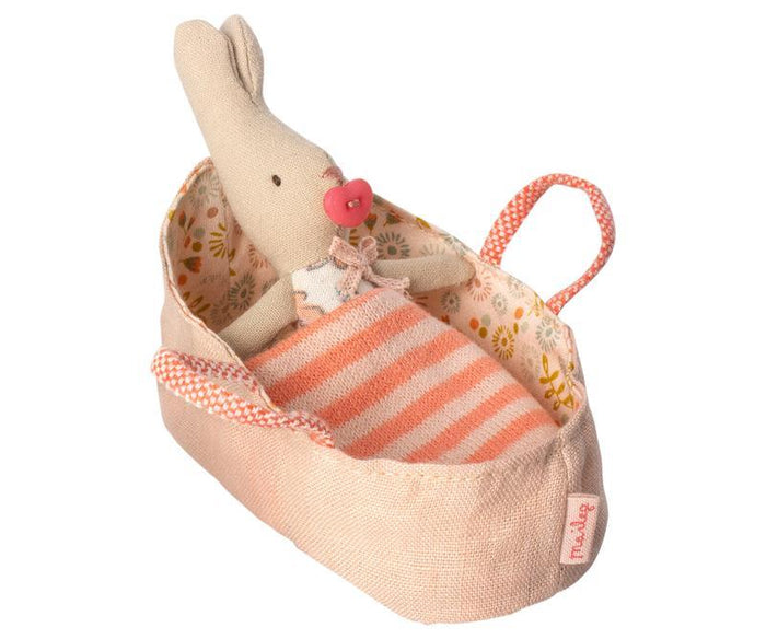 Little maileg play my rabbit in rose carry cot