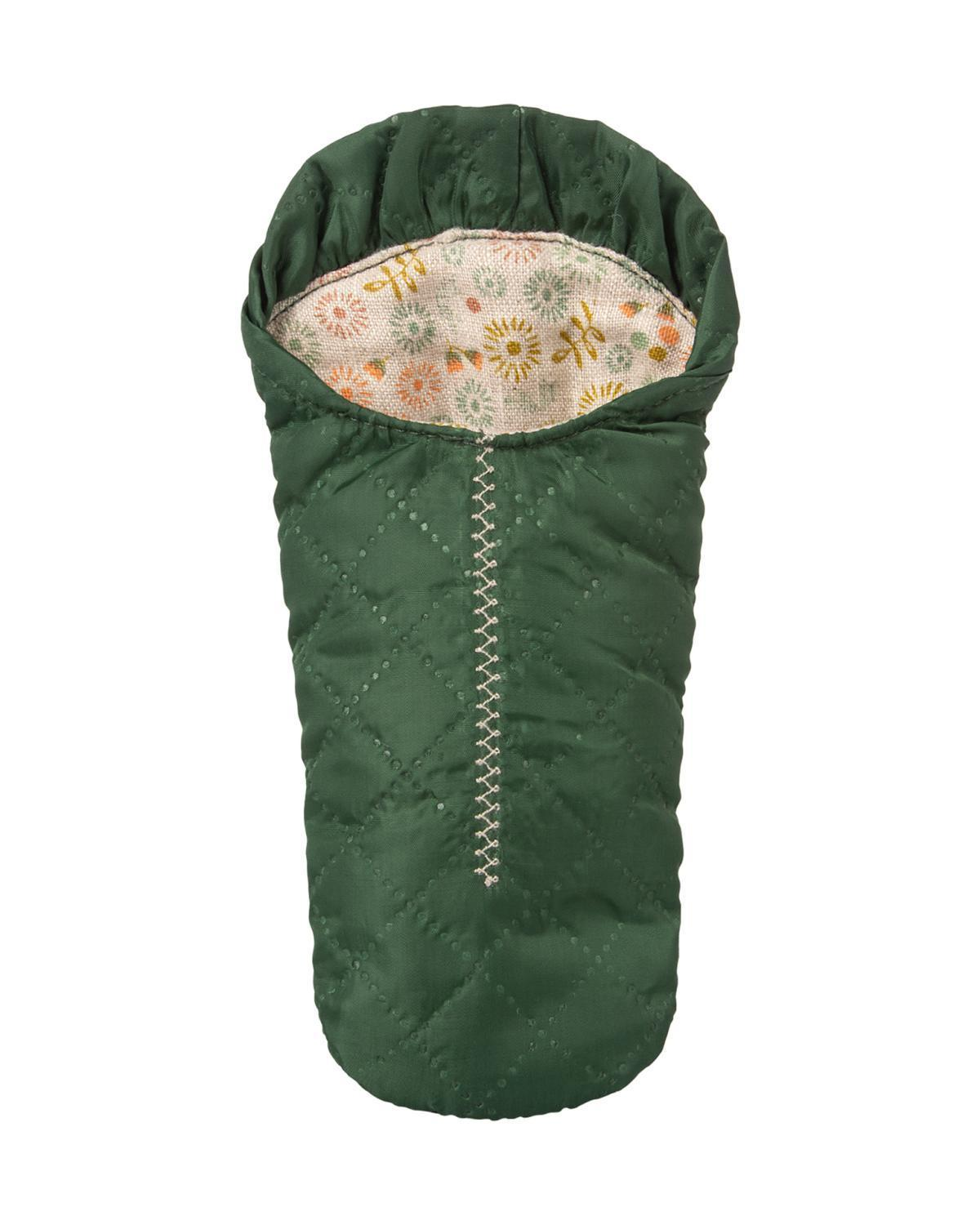 Little maileg play small mouse sleeping bag in green