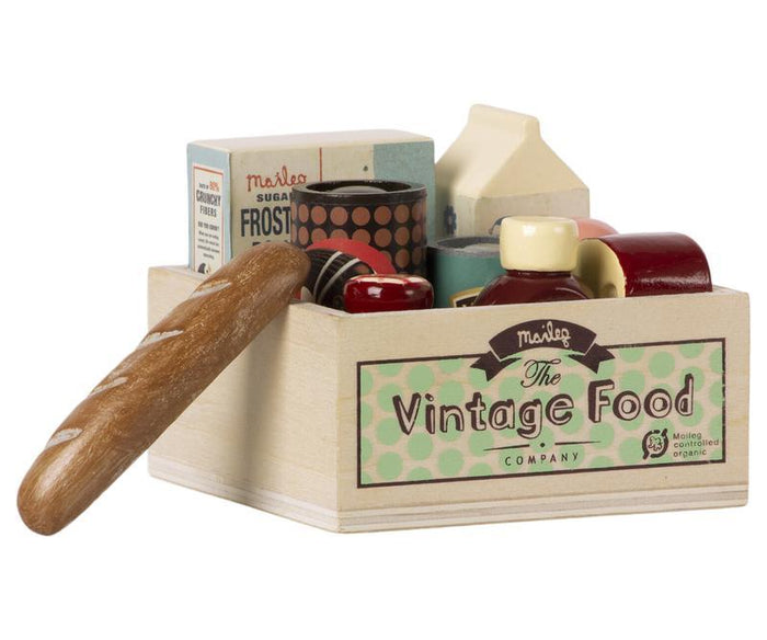 Little maileg play vintage food in grocery box