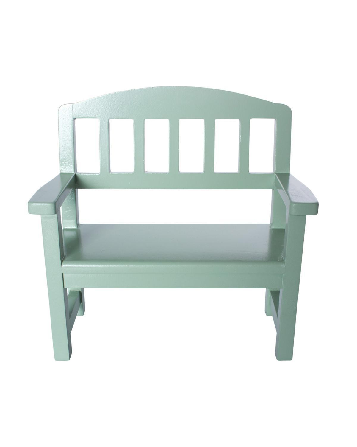 Little maileg play wooden bench in green