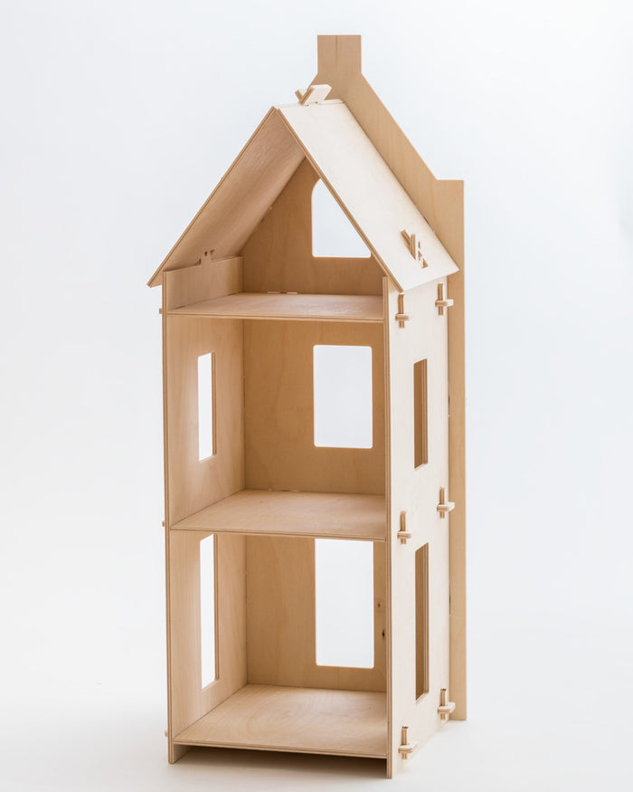 Little maquette kids play stepped gable dollhouse
