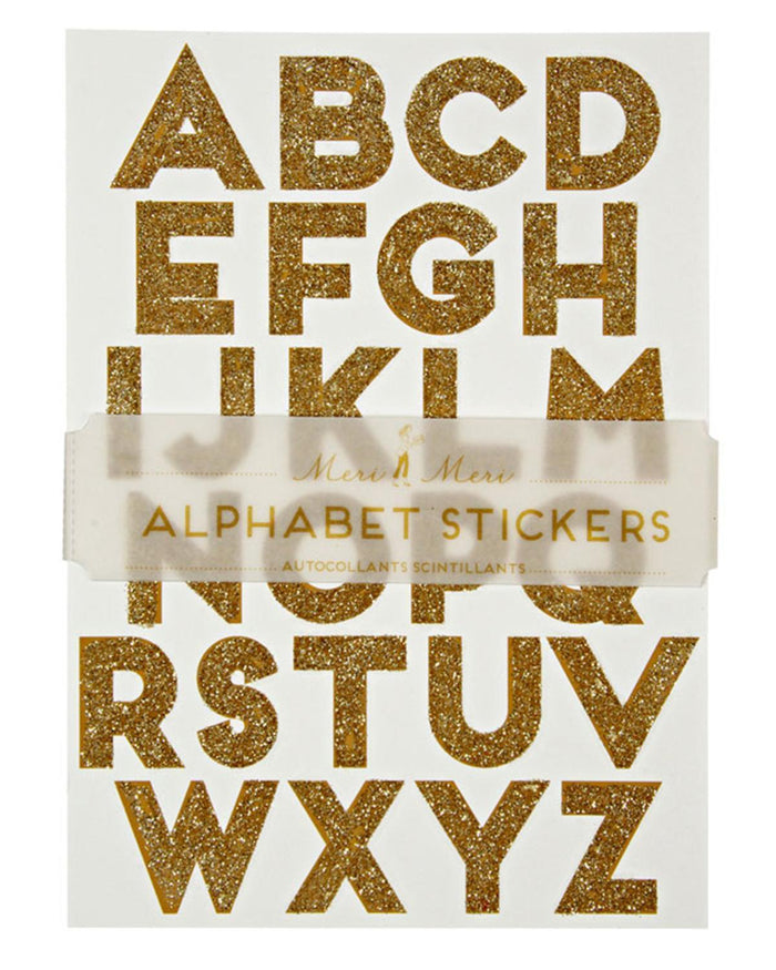 Little meri meri paper+party All Wrapped Up Alphabet Stickers in Gold