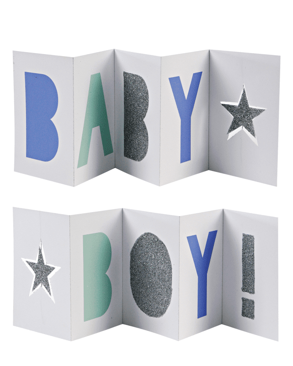 Little meri meri paper+party Baby Boy Banner Card