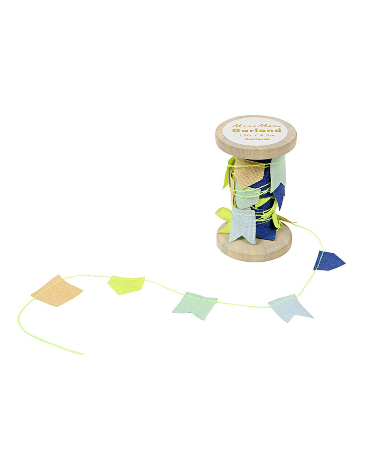 Little meri meri paper+party Blue Garland on Wooden Spool