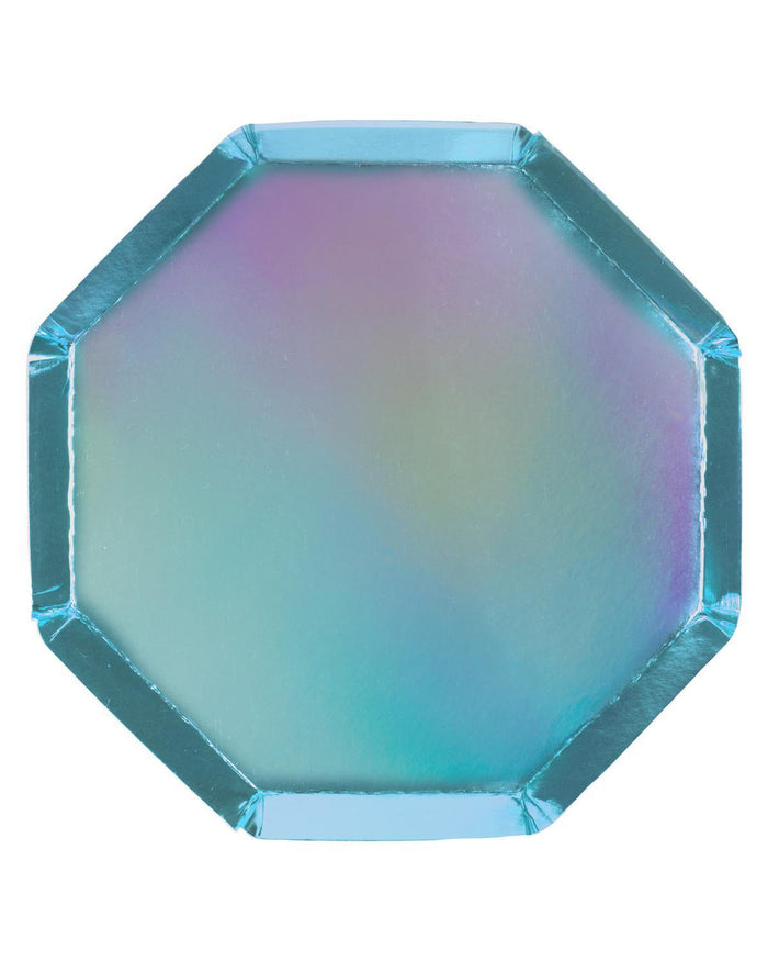 Little meri meri paper+party blue holographic side plates