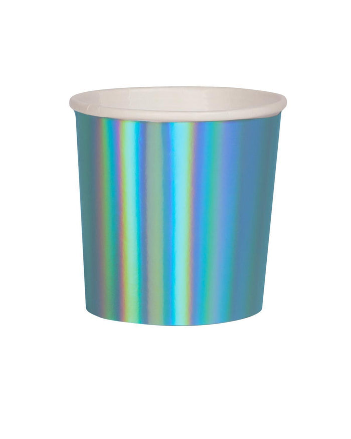 Little meri meri paper+party blue holographic tumbler cups