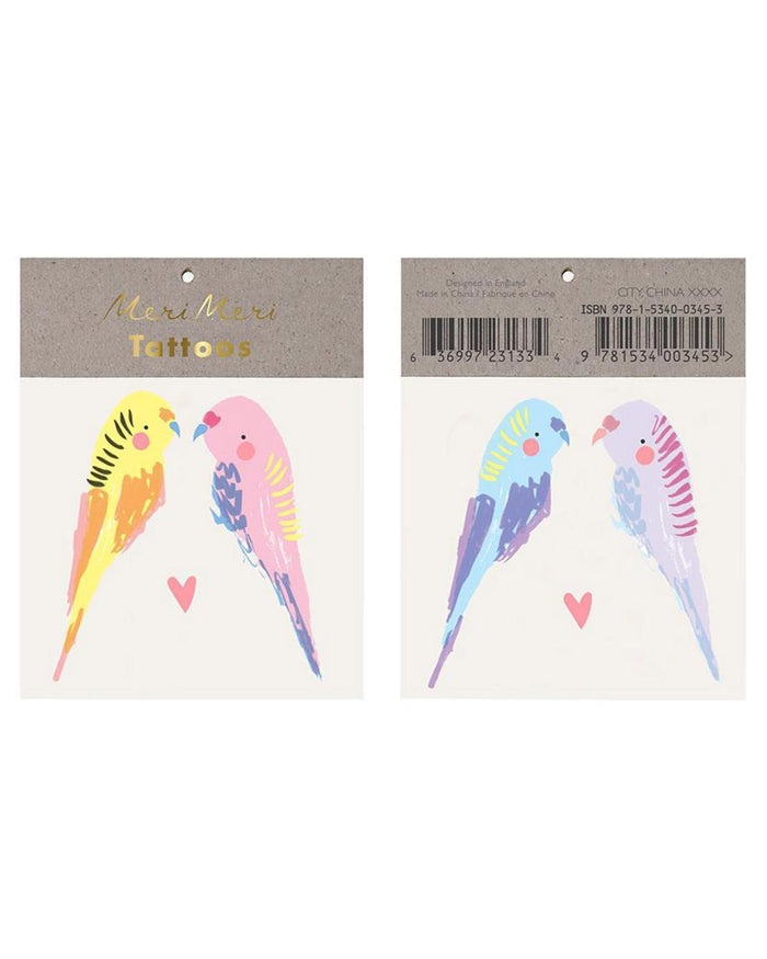 Little meri meri paper+party budgie tattoo